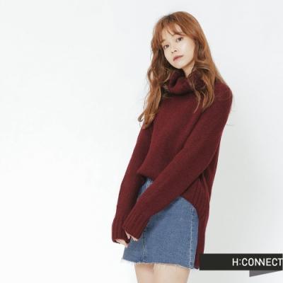H:CONNECT 韓國品牌 女裝 -側開岔翻領針織毛衣-紅(快)