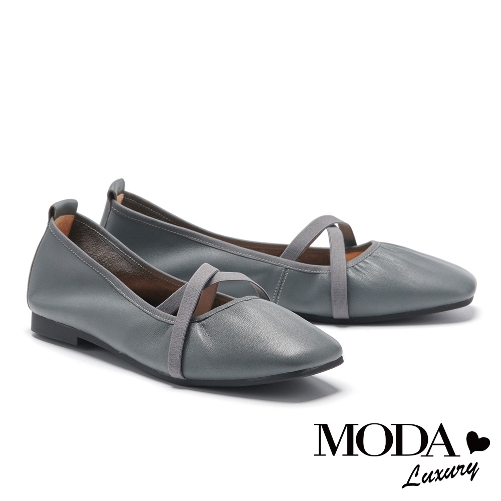 平底鞋 MODA Luxury 氣質純色芭蕾舞式方頭平底鞋-灰