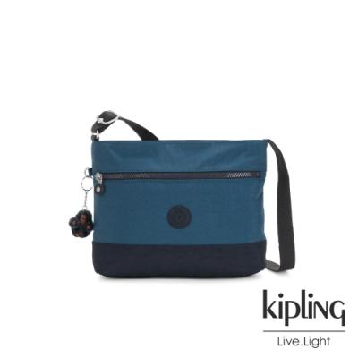 Kipling 復古土耳其藍簡約拉鍊側背方包-MAVEN