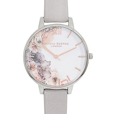 Olivia Burton 英倫復古手錶 花園水彩系列 淺灰紫真皮錶帶銀框38mm