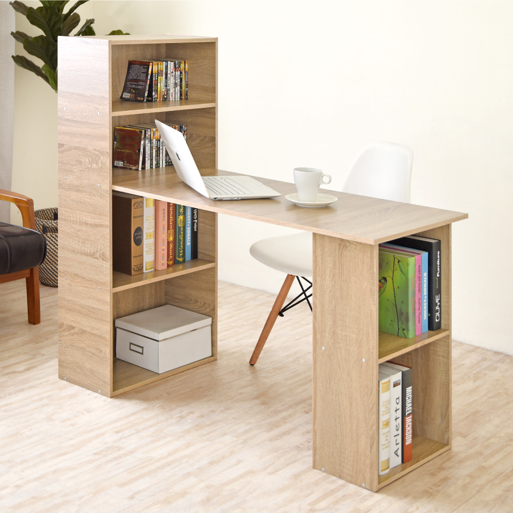 《HOPMA》DIY巧收伍德4+2書櫃型書桌-寬120.5 x深50.5 x高120cm