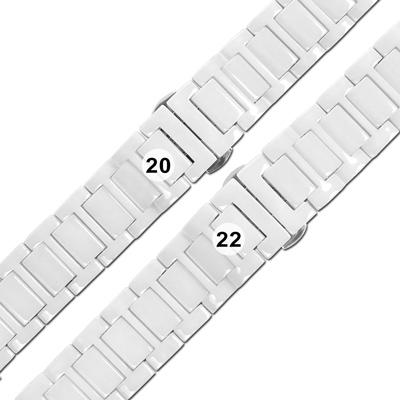 Watchband / 各品牌通用 亮麗陶瓷 快拆 蝴蝶扣 陶瓷錶帶 白色