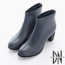 DN 女人魅力 質感牛皮平口線條跟靴-藍