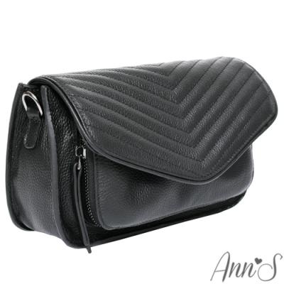 Ann'S頂級全真皮牛皮山形立體車線鍊帶方包-黑