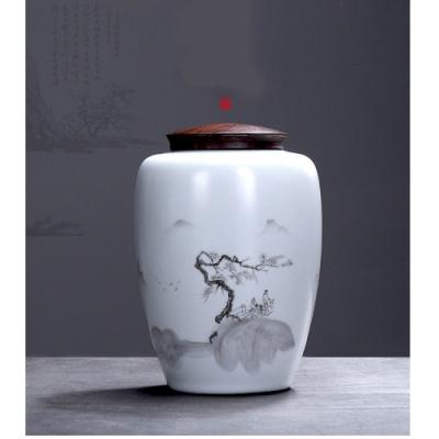 【原藝坊】悠然山水陶瓷密封茶葉罐儲物罐(罐子尺寸10*15cm)