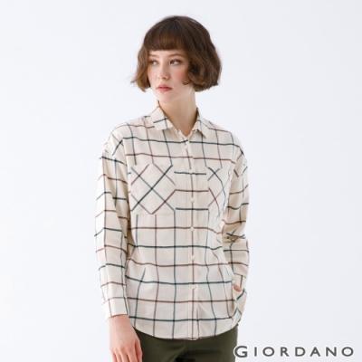GIORDANO   女裝法蘭絨磨毛長袖襯衫 - 04 卡其/咖/綠