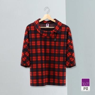 ILEY伊蕾 亮麗撞色彈力格紋連袖上衣(紅)