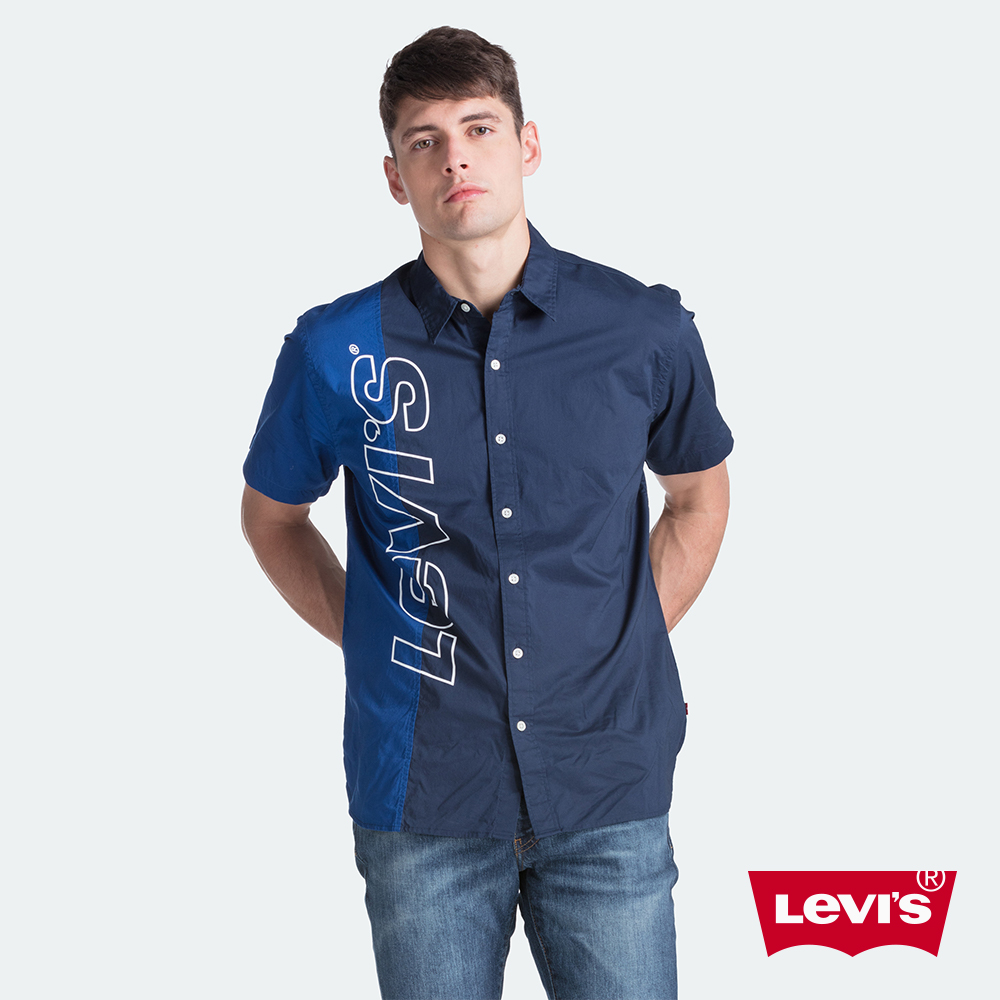 Levis 男款 短袖襯衫 / 四分一拼接 / 撞色大Logo