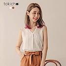 東京著衣 氣質條紋V領無袖上衣-S.M(共二色)