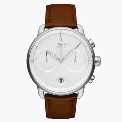 Nordgreen Pioneer | 皓白錶盤 - 復古棕真皮錶帶42MM(PI42SILEBRXX)