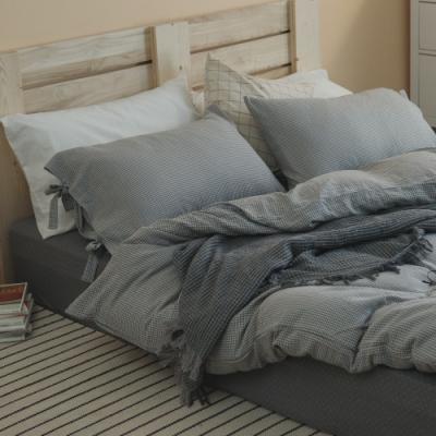 翔仔居家 台灣製 頂級長絨棉 色織雙層紗系列 薄被套&床包4件組-晨霧灰 (加大)
