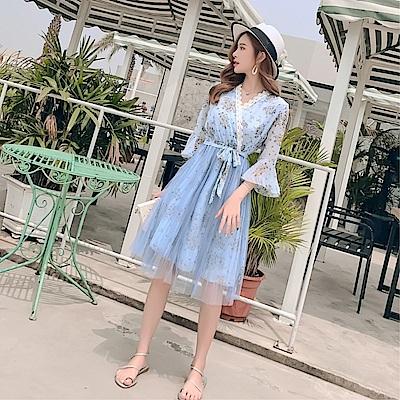 DABI 韓國風復古雪紡淑女v領印花裙顯瘦長袖洋裝