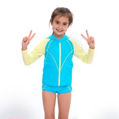 澳洲Sunseeker泳裝抗UV防曬連帽運動風泳衣外套/小女童水藍5181015BLU