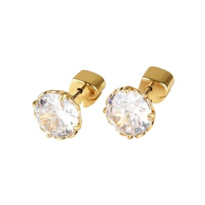kate spade The Sparkle黑桃LOGO圓形設計鑽鑲飾穿式耳環(金x白)