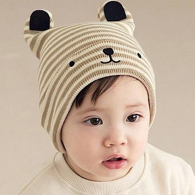 韓國 Happy Prince 條紋反折熊臉耳朵嬰兒帽