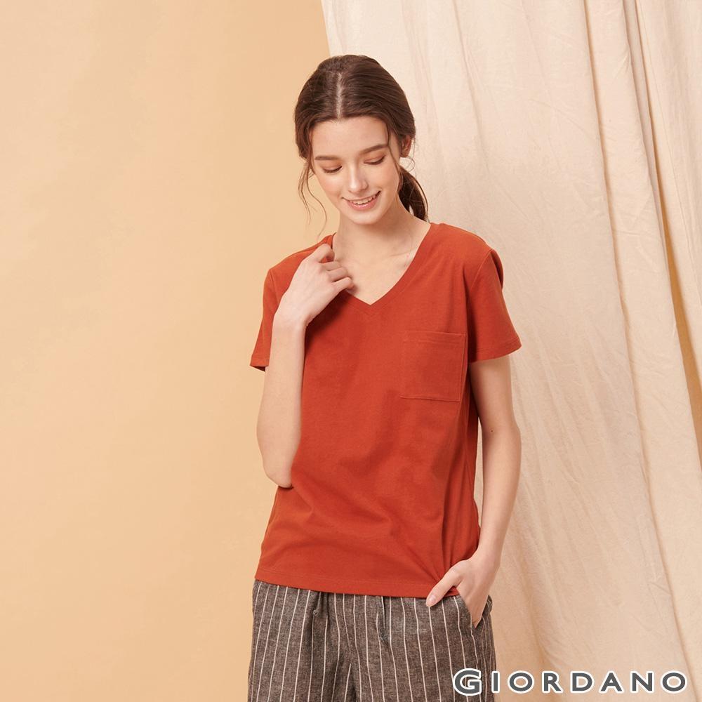 GIORDANO 女裝棉質素色V領口袋T恤-30 夕陽紅