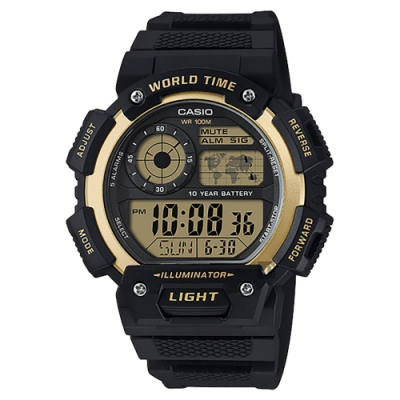 CASIO 卡西歐 10年電力世界時間手錶-金x黑 AE-1400WH-9A
