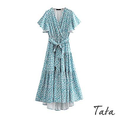 V領綁帶白碎花洋裝 TATA-(S~L)