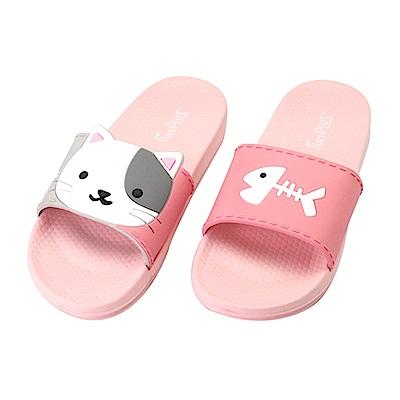 Fun Plus+ 兒童款★萌萌動物親子室外童拖鞋-桃