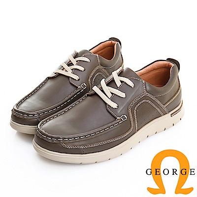 GEORGE 喬治皮鞋 輕量系列 素面真皮綁帶休閒鞋 -灰綠色