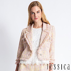 JESSICA - 翻領金屬粗花呢流蘇外套(粉)