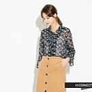 H:CONNECT 韓國品牌 女裝-氣質綁結碎花上衣-藍