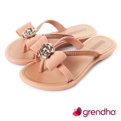 Grendha 晶鑽玫瑰蝴蝶結夾腳鞋-女童-褐色