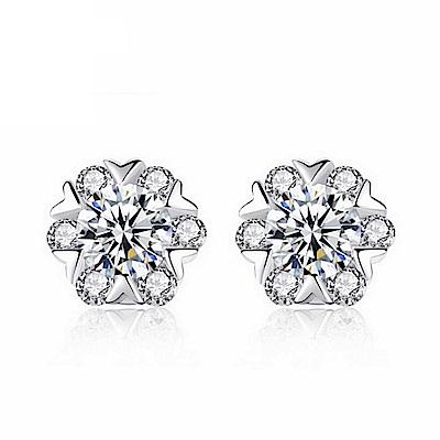 米蘭精品 925純銀耳環-鑲鑽精緻雪花耳環