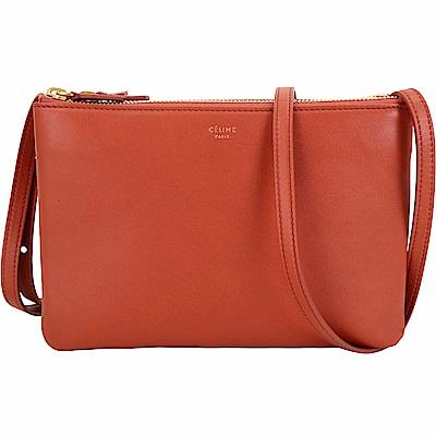 CELINE TRIO 小款經典小羊皮斜背包(橘紅色)