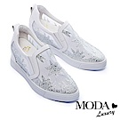 休閒鞋 MODA Luxury 異材質拼接網布造型水鑽厚底休閒鞋-白