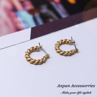 【Anpan 愛扮】韓東大門INS風U型麻花耳釘式耳環