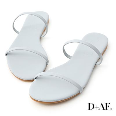 D+AF 清涼夏日.二條細帶平底涼拖鞋*藍
