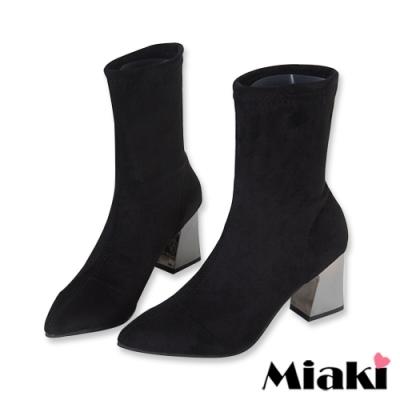 Miaki-短靴首爾時尚粗跟尖頭踝靴-黑