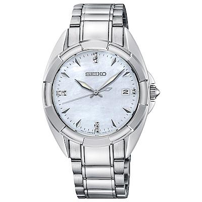 SEIKO精工 奢華晶鑽白蝶貝藍寶石夜光石英女錶(SKK885P1)-白x34mm