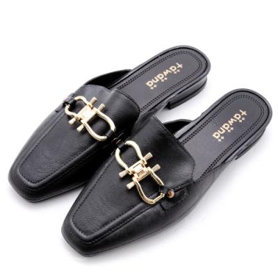River&Moon防水鞋 造型金鎖扣方頭低跟穆勒鞋 黑