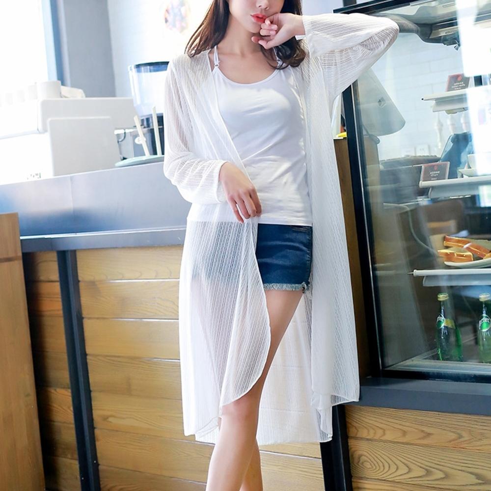 Lockers木櫃 輕熟女冰麻蕾絲防曬長款外套/罩衫-2色 product image 1