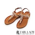 Fair Lady 水鑽拼接寶石T字夾腳涼鞋 棕