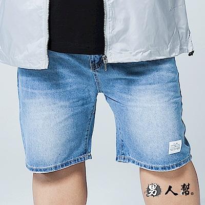 男人幫 K0582人氣單寧左腿logo水洗牛仔短褲