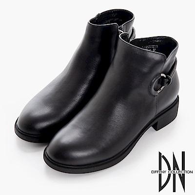 DN 漫步秋冬 百搭牛皮拉環造型短靴-黑