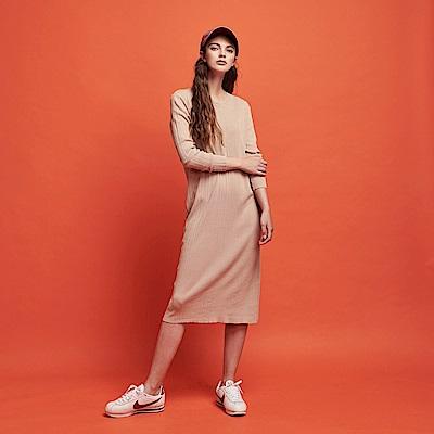 CACO-坑條針織長洋裝-女RSH043