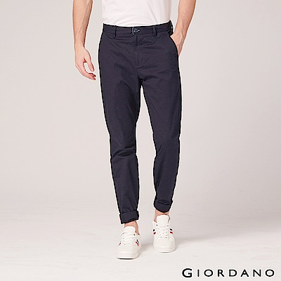 GIORDANO 男裝基本款彈性低腰長褲-66 標誌海軍藍