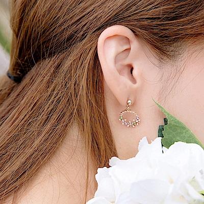 氣質彩鑽花圈耳針/耳夾式耳環-OB大尺碼