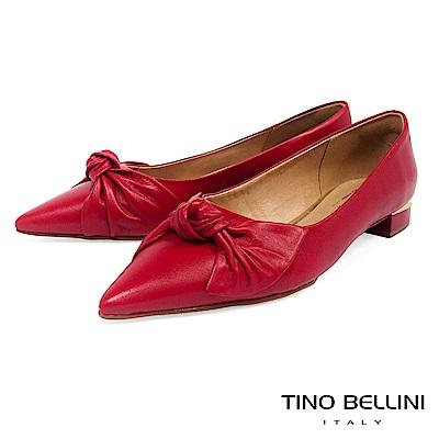 Tino Bellini 巴西進口皮革紐結尖楦微跟包鞋 _ 紅