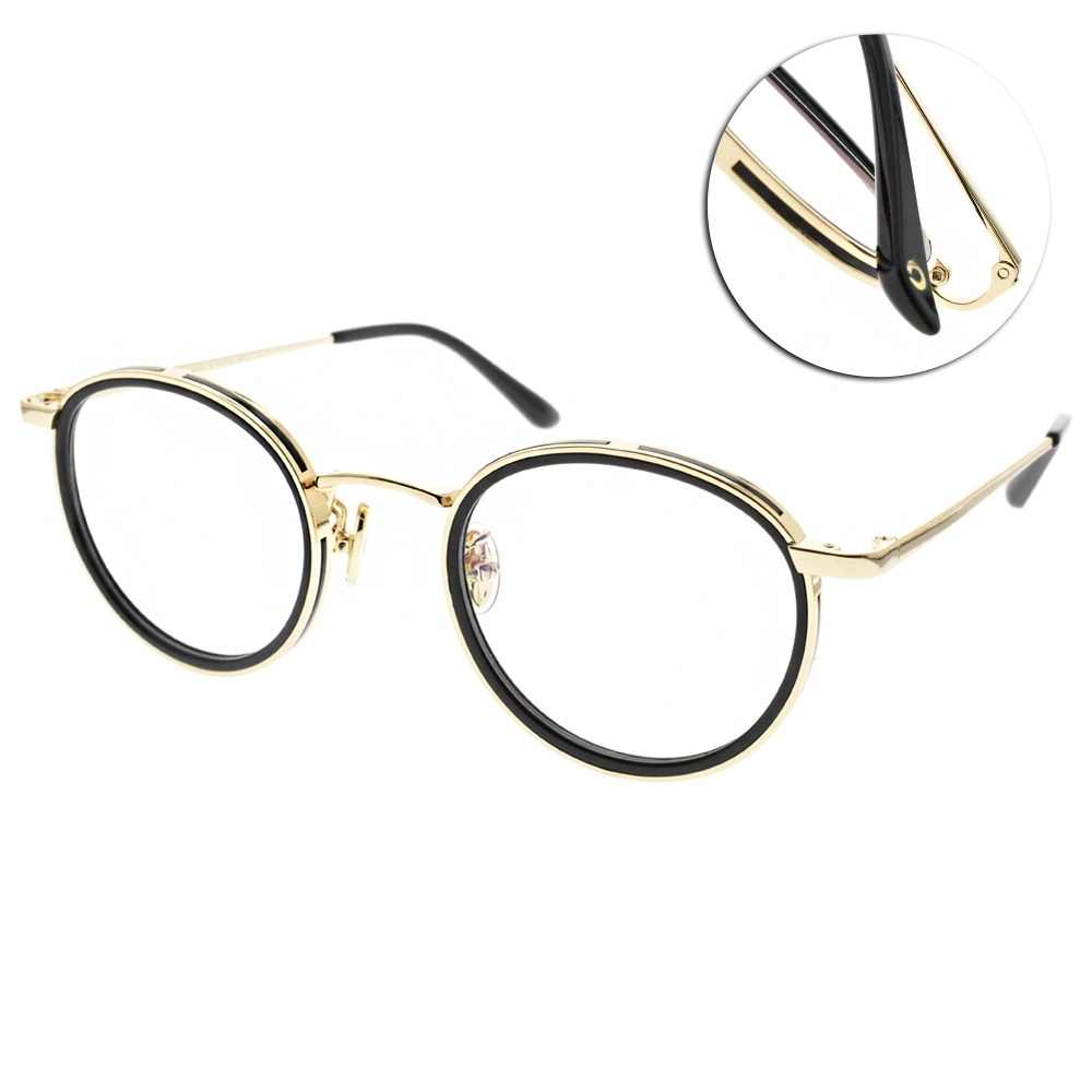 NINE ACCORD光學眼鏡  韓系簡約圓框款/黑-金 #TI-MIEN C4
