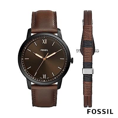 FOSSIL MINIMALIST 棕色皮革極薄款男錶和手環套組