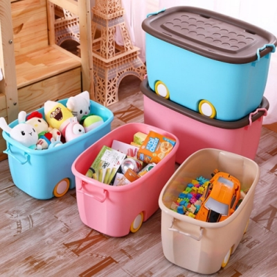 【AOTTO】兒童多功能附輪玩具衣物收納箱 整理箱 儲物箱 大號4入