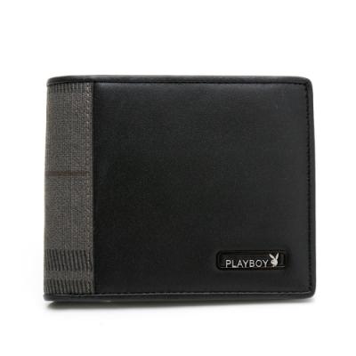 PLAYBOY- 短夾附零錢袋  City系列 -黑色