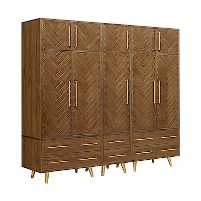 文創集 亞凱德7.6尺加高衣櫃(抽屜+吊衣桿+高收納櫃)-227x60x210.5cm免組