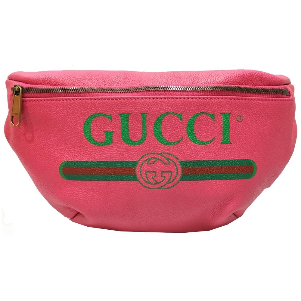 GUCCI   復古綠紅綠織帶牛皮腰包/斜背包(桃粉色)
