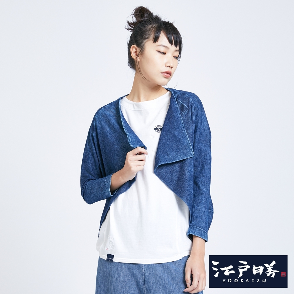 EDO KATSU江戶勝 兩穿式INDIGO和風罩衫-女-中古藍
